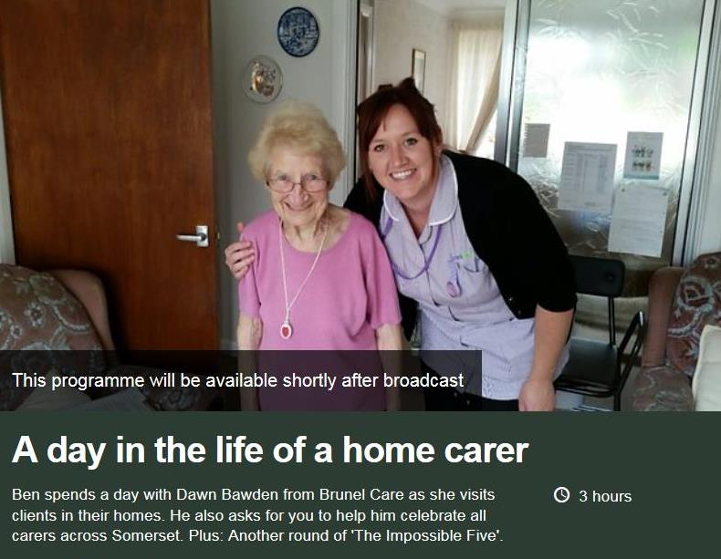 Dawn Bawden, home carer with client