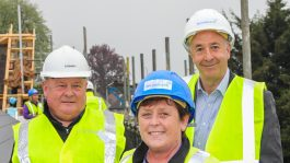 Hedley Pitts, Sandra Payne and Kevin Fairman at Little Heath topping out day