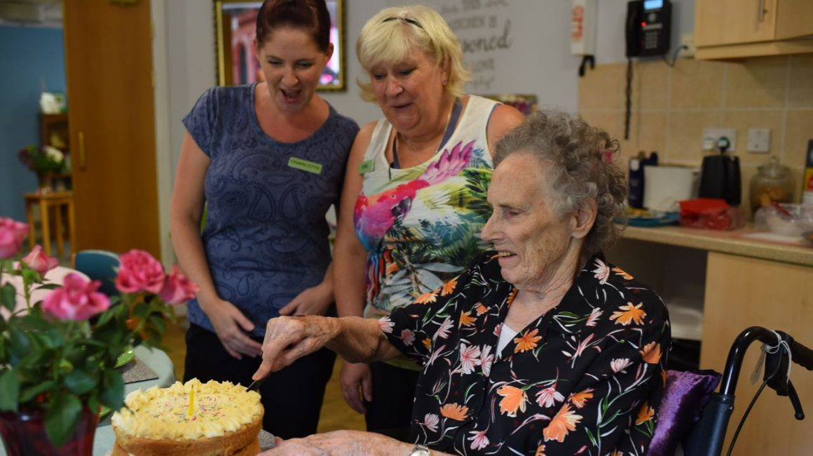 birthday party at Glastonbury care home