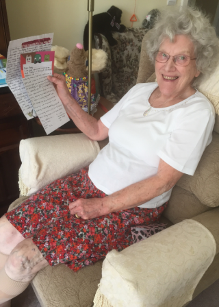 Mary receiving pen pal letters
